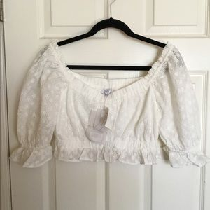 SABO SKIRT Eyelet crop top white sz. L $35